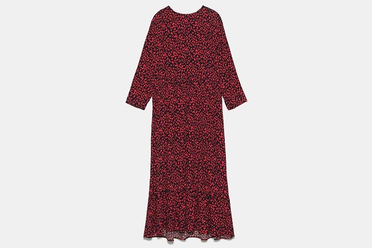 vestido largo estampado leopardo rojo zara