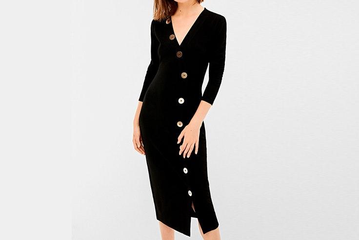 vestido negro botones springfield