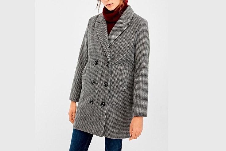 abrigo cuadros blanco y negro springfield