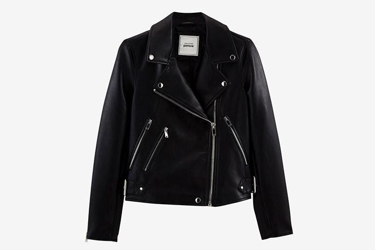 chaqueta de cuero polipiel color negro pimkie