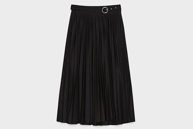falda midi plisada negra con hebilla bershka