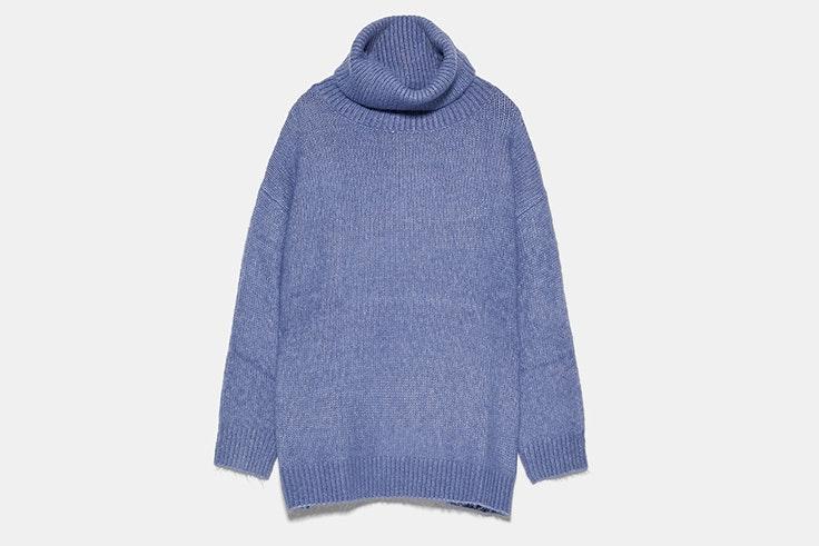 jersey azul cuello vuelto zara