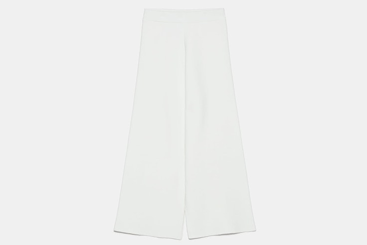 pantalón de punto en color blanco de zara