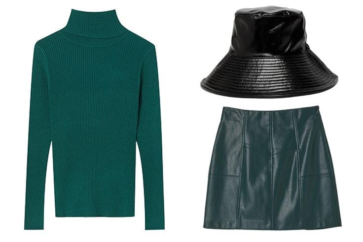 look jersey verde botella, falda de polipiel y bucket hat de aitana para stradivarius