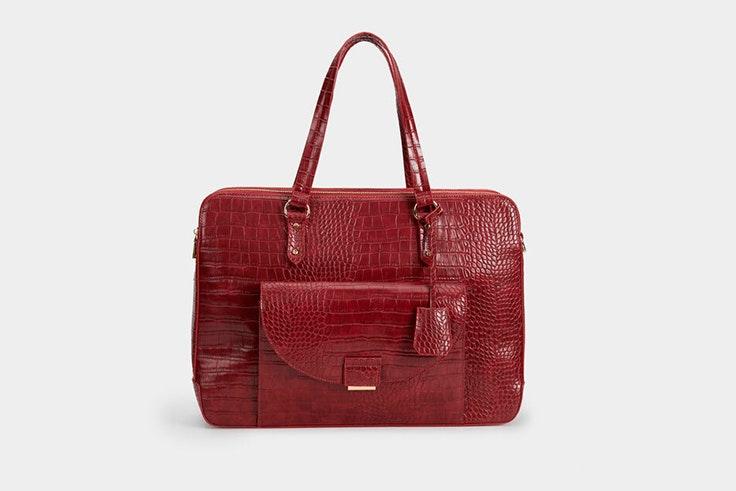 bolso maletín color rojo textura cocodrilo parfois