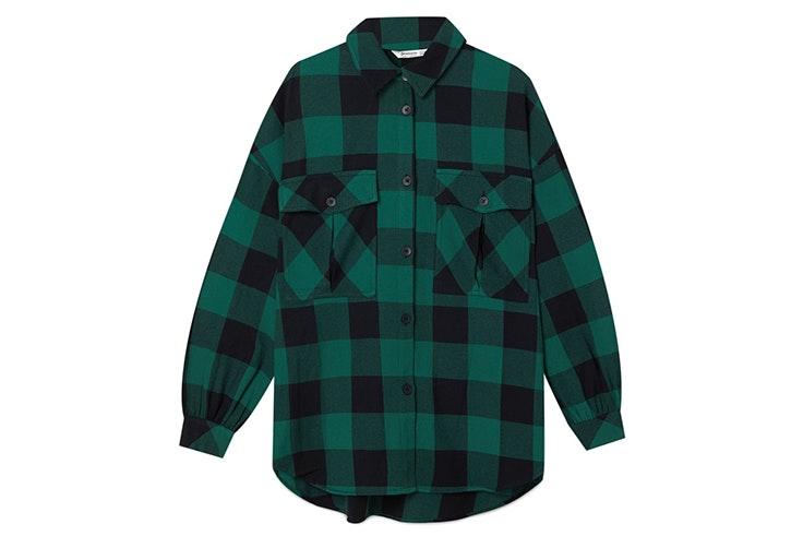 camisa cuadros verdes stradivarius