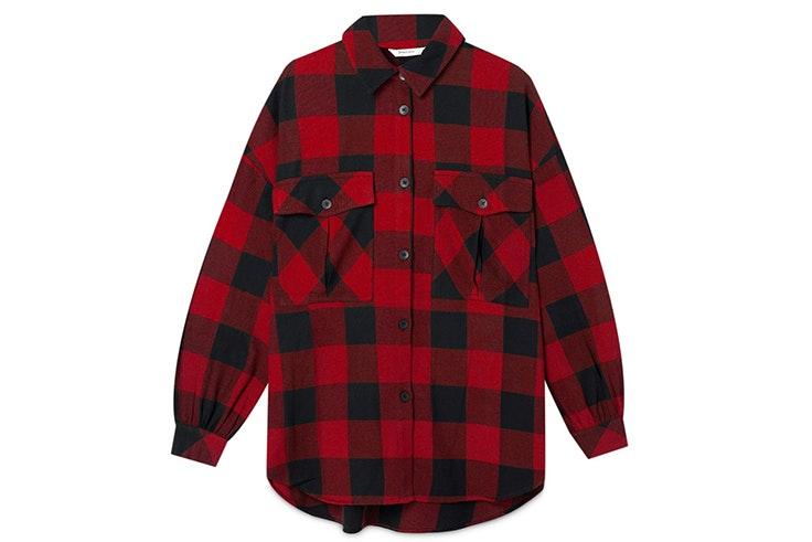 camisa estampado de cuadros rojos stradivarius