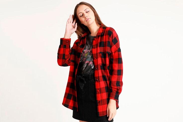 camisa roja estampado de cuadros rojos pimkie