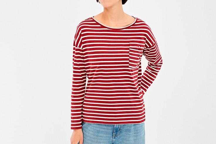 camiseta de rayas terracota springfield