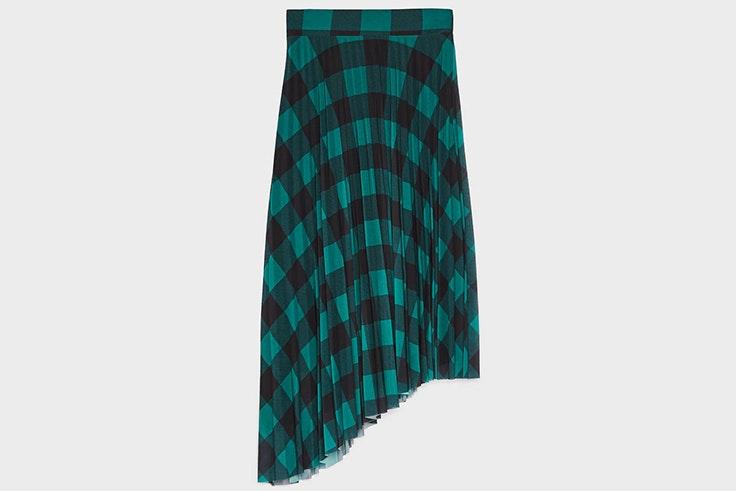 falda cuadros verde bershka
