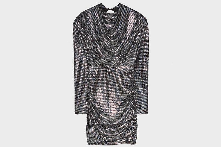 Vestido corto con espejos iridiscentes de Bershka