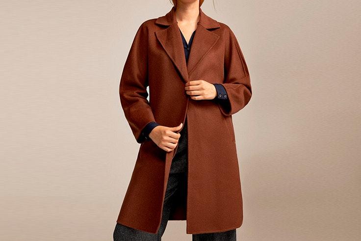 Abrigo marrón largo de doble faz de Cortefiel