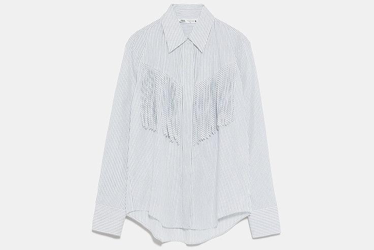 Camisa con flecos y rayas de Zara