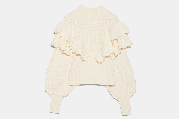 Jersey de punto con detalle de volantes de Zara