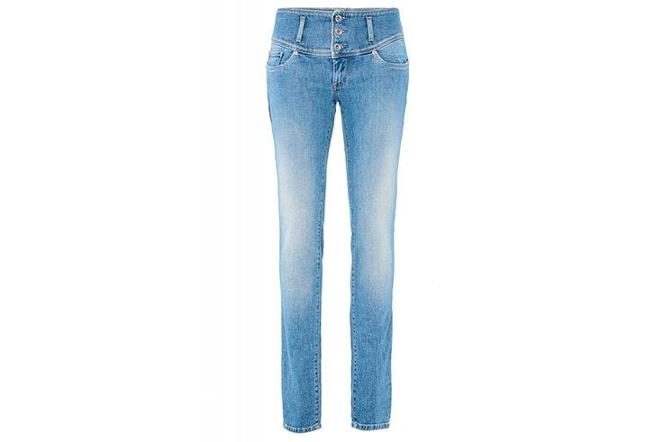Pantalón vaquero pitillo en azul claro de cintura media de Salsa