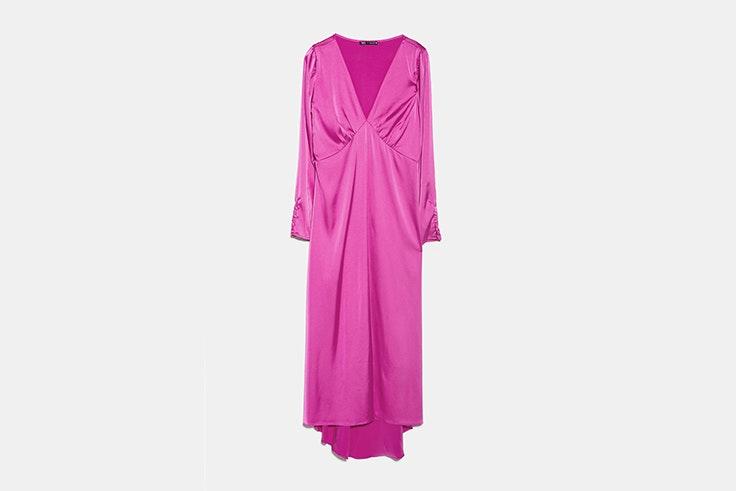 Vestido satinado color fucsia de Zara vestidos de invierno