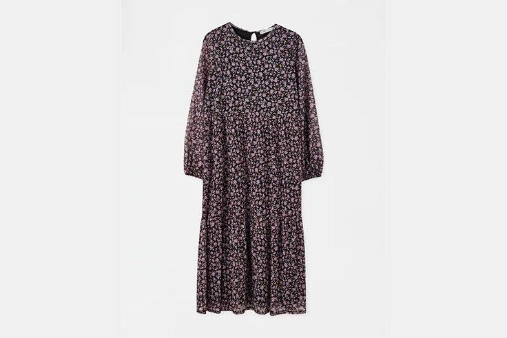 vestido midi lila de flores de pull and bear vestidos de invierno