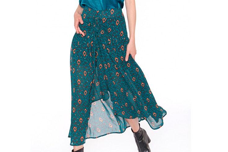 Falda en color turquesa con estampado étnico de Kaban Lahun
