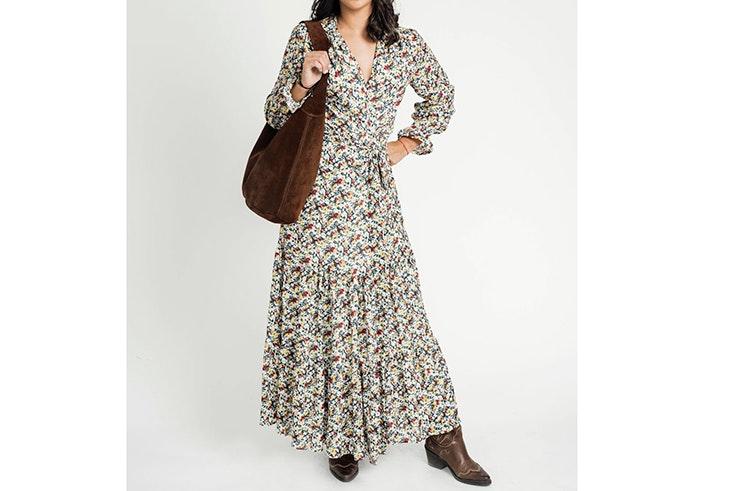 Vestido largo estampado de flores de Kabán Lahun