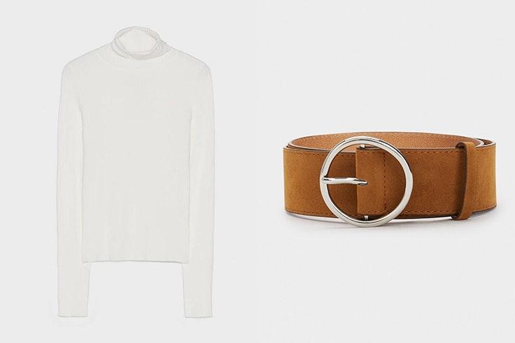 Jersey blanco de Bershka Cinturón marrón de Parfois