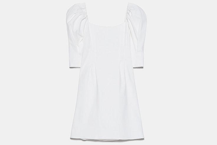 Vestido blanco con mangas abullonadas novedades de zara primavera verano