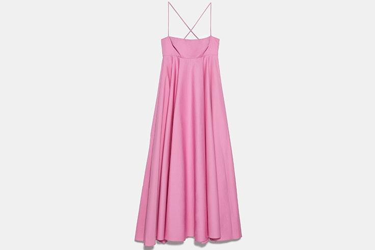 Vestido midi de tirantes en color rosa novedades de zara primavera verano