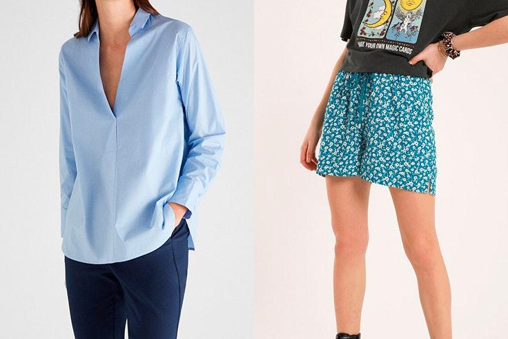 Camisa azul de Cortefiel Pantalón corto con flores de Pimkie