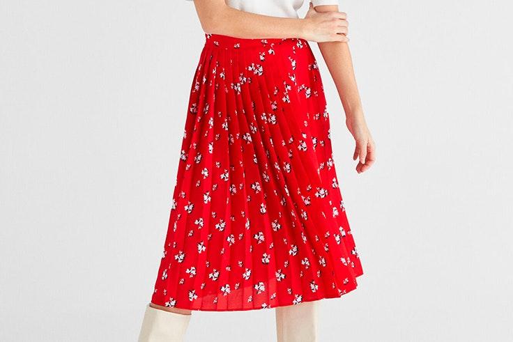 Falda con estampado de flores de Cortefiel