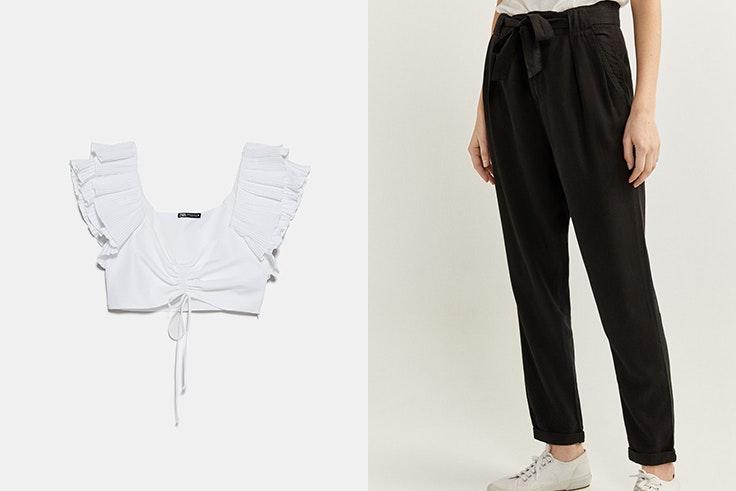 Top blanco de Zara Pantalón negro de Springfield