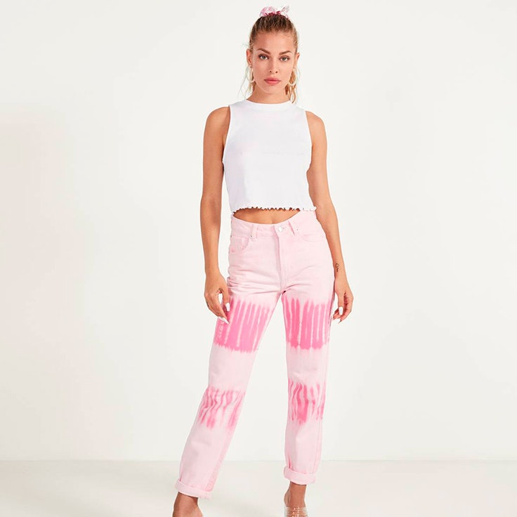 prendas de bershka seleccion jessica goicoechea Pantalones rosas con efecto tie dye