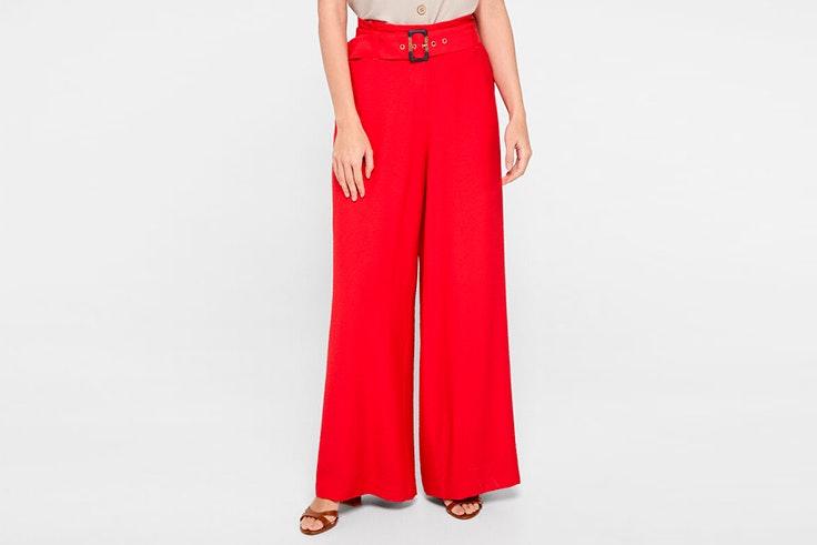 todos volvemos mejores cortefiel verano 2020 Pantalón ancho en color rojo con detalle de cinturón