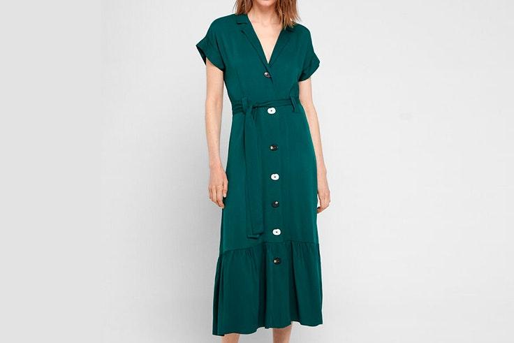 todos volvemos mejores verano 2020 Vestido midi camisero en color verde cortefiel