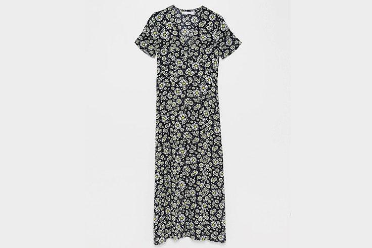 Vestido midi de flores en tonos negros de Sfera