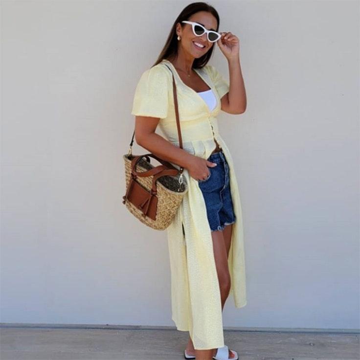 paula echaverría vestido amarillo bershka