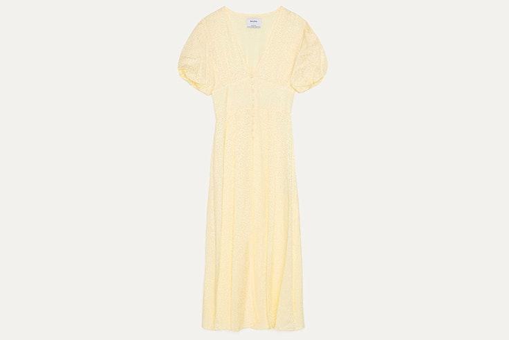 rebajas max center Vestido amarillo pastel de Bershka