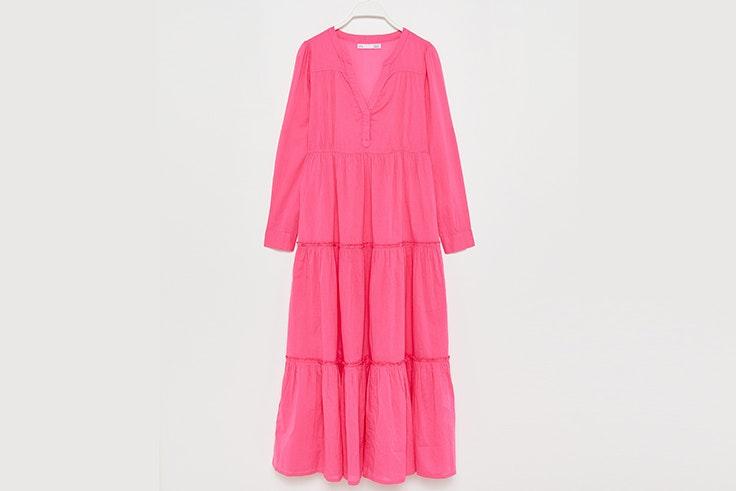 Vestido largo en color rosa fucsia de Sfera ana soria