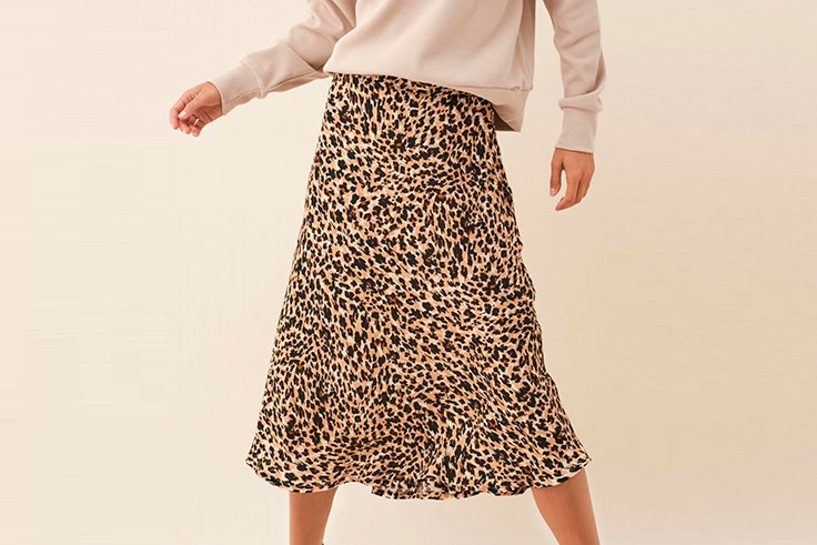 Falda midi con estampado de leopardo de Salsa