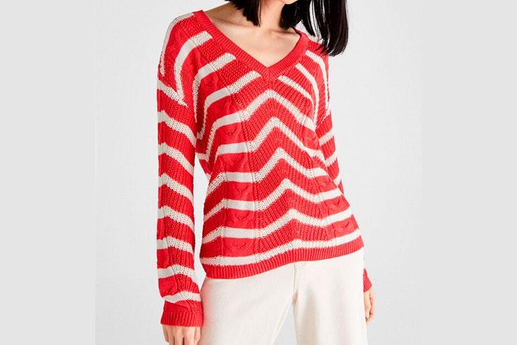 Jersey de rayas en color rojo de Cortefiel