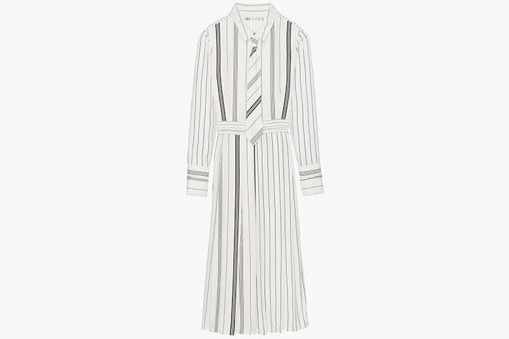 Vestido largo camisero de rayas de Zara