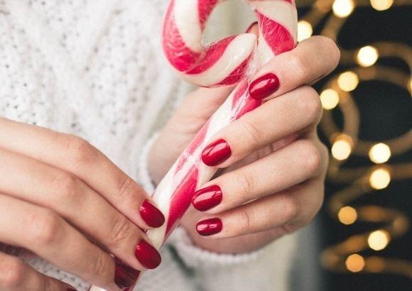 Manicura roja navidad