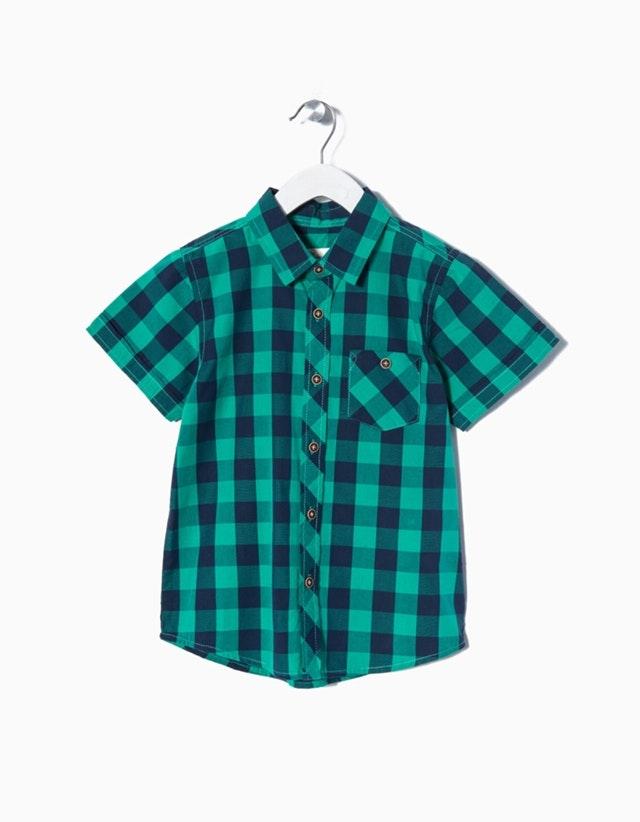 Camisa de manga curta axadrezada (9,99€)