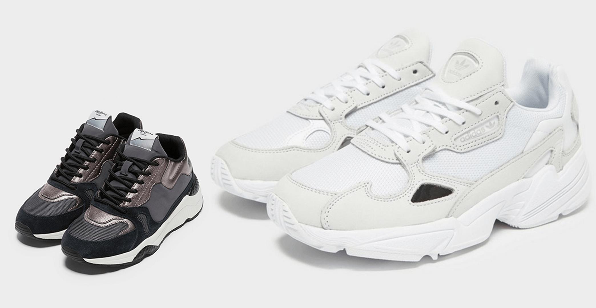1 - Sapatilhas Combinadas Harlow Up Run, Pepe Jeans, 85€ | 2 - Sapatilhas Falcon, Adidas, 99,95€