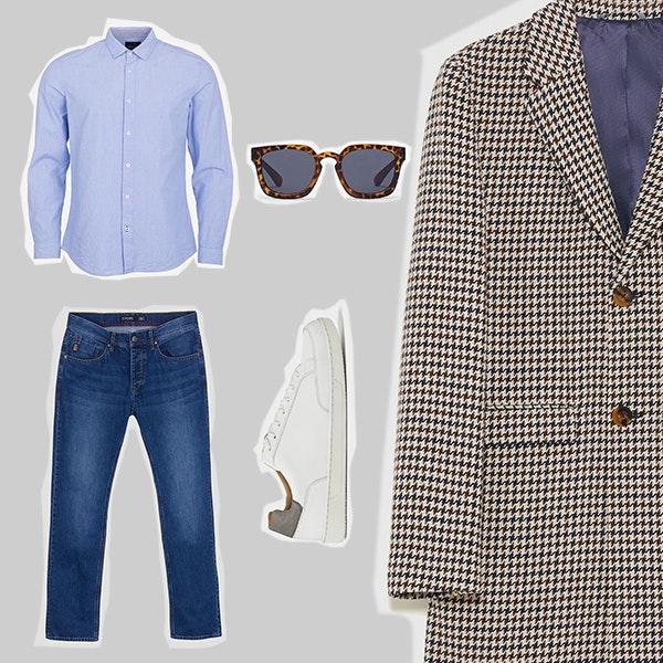 3 | A casualidade dos jeans, dos óculos escuros e das sapatilhas contrasta com a clássica camisa azul e o sobretudo de estilo retro. Este é um conjunto versátil, que pode ser usado como opção semi-formal para o trabalho ou para um programa cool durante durante o fim de semana.