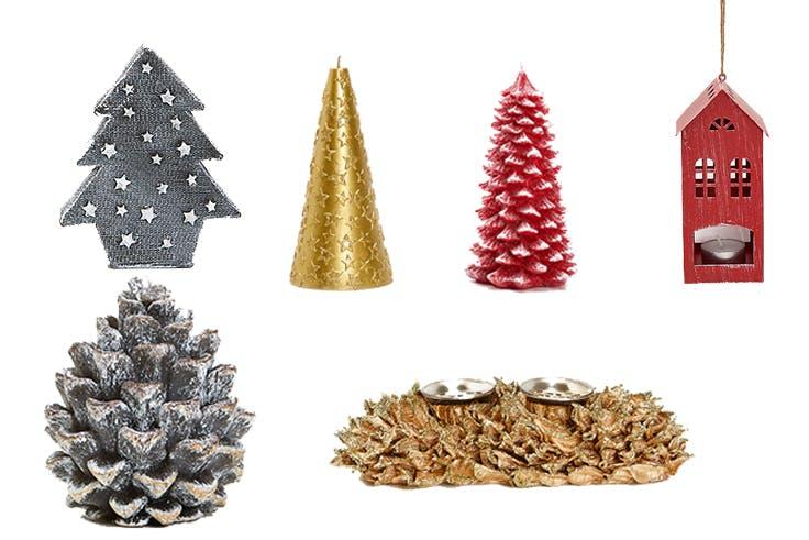 Vela árbol de Navidad con estrellas (9,99€)/Vela árbol con estrella dorada (12,99€)/Vela en forma de abeto rojo (15,99€)/Portavela casita (7,99€)/Vela en forma de piña con purpurina (7,99€)/Centro de mesa con portavela (15,99€)