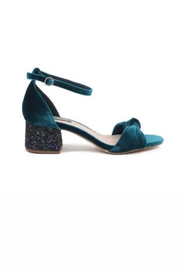 Sandalia de terciopelo con tacón de glitter de Chika10