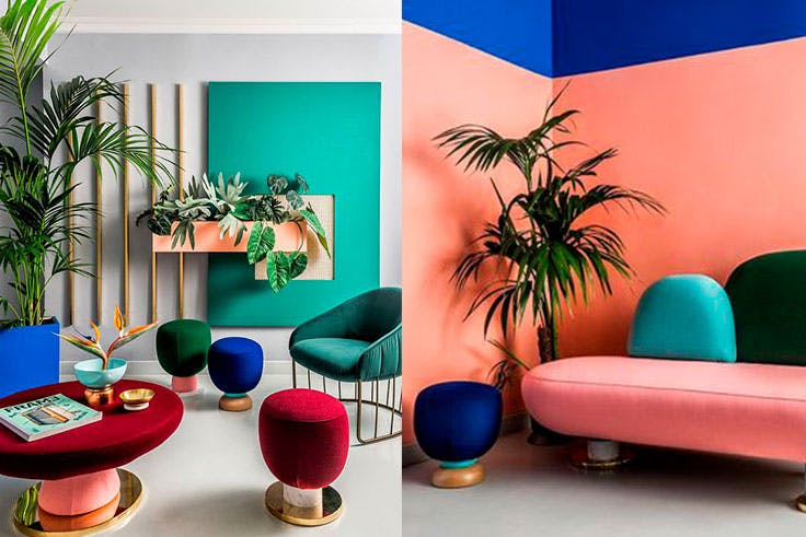 Tendencia de decoración color block con tonos intensos
