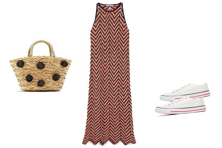 Look de primavera con vestido largo y zapatillas