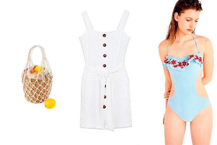 Look de playa con vestido blanco