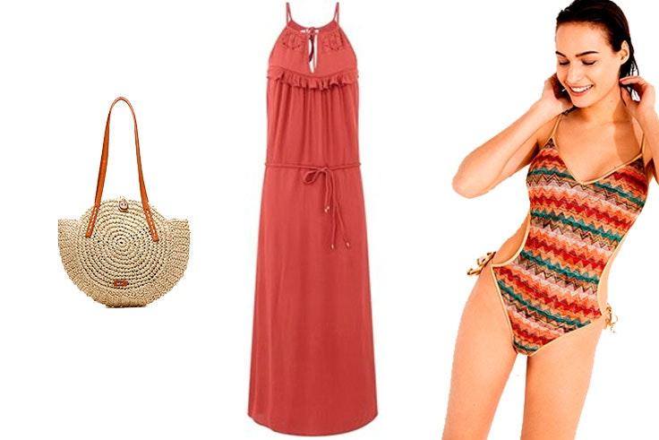 Look de playa con vestido largo