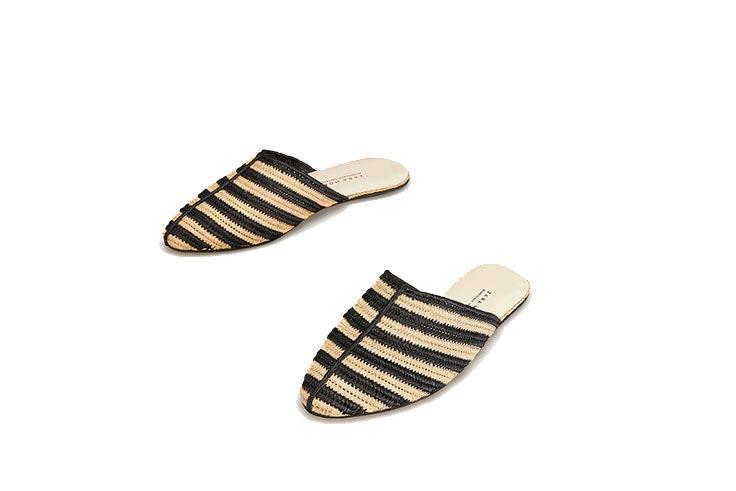 Mules de Zara Home en beige y negro